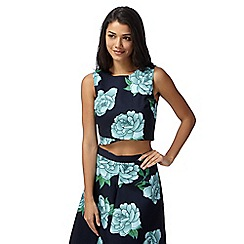 Red Herring - Navy floral printed crop top