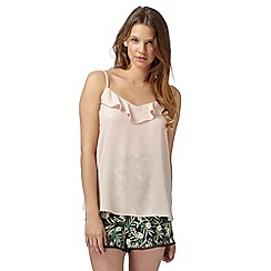 Red Herring - Light pink metallic ruffle front cami