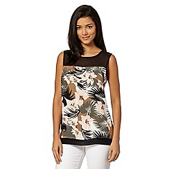 Red Herring - Black jungle print split back top