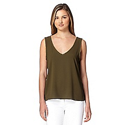 Red Herring - Khaki pom pom trim vest