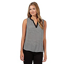 Red Herring - Black geometric V neck top