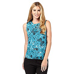 Red Herring - Turquoise floral butterfly print shell top