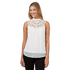 Red Herring - Ivory crochet high neck top