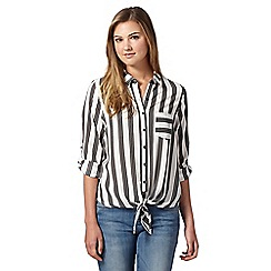 Red Herring - White striped self tie hem blouse