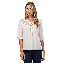 Red Herring - Ivory lace yoke blouse