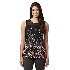 Red Herring - Black floral lace trim top