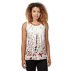 Red Herring - Ivory pleated floral top