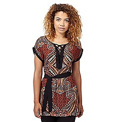 Red Herring - Terracotta african print lace up top