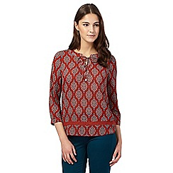 Red Herring - Dark orange tile print gypsy top