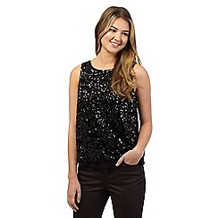 Red Herring - Black sequin wrap top