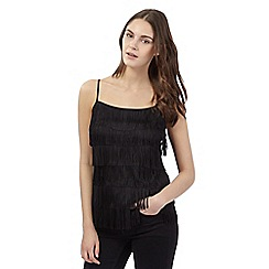 Red Herring - Black fringed cami