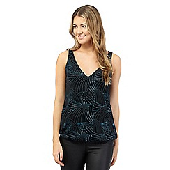 Red Herring - Black and turquoise sparkle bubble hem vest