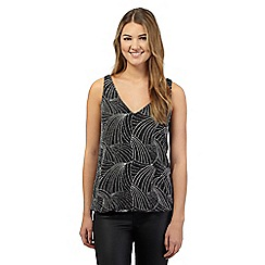 Red Herring - Black and silver sparkle bubble hem vest