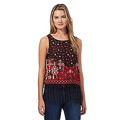 Red Herring - Black retro geometric print fringed top