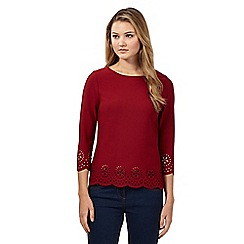 Red Herring - Wine red three quarter sleeve floral laser cut top