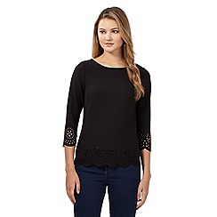 Red Herring - Black three quarter sleeve floral laser cut top