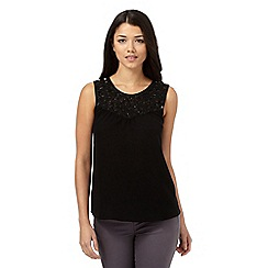 Red Herring - Black embellished scoop neck top