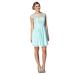 Red Herring - Aqua sequin bust prom dress
