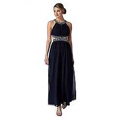 Instaglam by Red Herring - Navy embellished cutout waist maxi dress