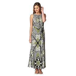 Green valencia print maxi dress