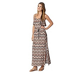 Red Herring - Light pink zig zag paisley layered maxi dress