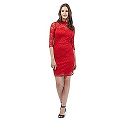 Red Herring - Red high neck lace dress