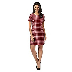 Red Herring - Wine checked zip mini dress