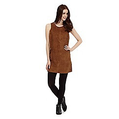 Red Herring - Dark tan suedette tunic dress