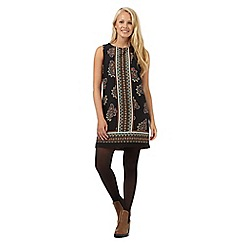 Red Herring - Black paisley siren border shift dress
