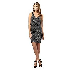 Red Herring - Black and silver sparkle bodycon dress