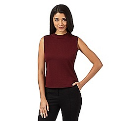 Red Herring - Wine high neck ribbed sleeveless top