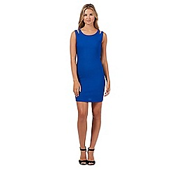 Red Herring - Blue textured cutout shoulder bodycon dress