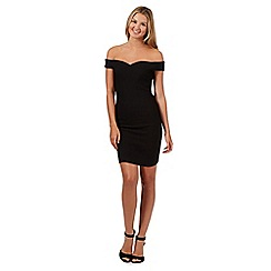 Red Herring - Black textured sweetheart bardot bodycon dress