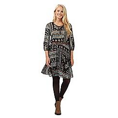 Red Herring - Black seventies print gypsy dress