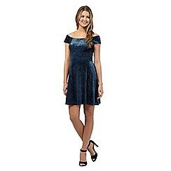 Red Herring - Blue velvet Bardot style skater dress