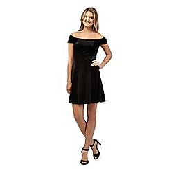 Red Herring - Black velvet Bardot style skater dress