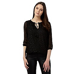 Red Herring - Black sparkle dobby top