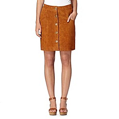Red Herring - Brown suede button detail skirt