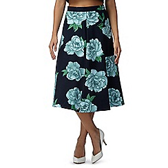 Red Herring - Navy floral full midi skirt