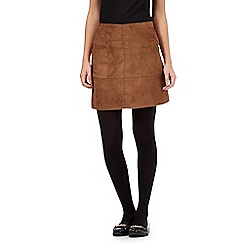 Red Herring - Dark tan suedette pocket skirt