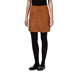 Red Herring - Tan suedette pocket skirt
