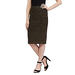 Red Herring - Gold sparkle striped pencil skirt