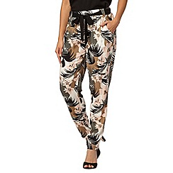 Red Herring - Light pink jungle print belted trousers