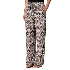 Red Herring - Light pink zig zag print wide leg trousers