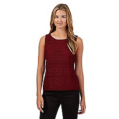 Red Herring - Wine floral crochet vest