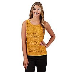 Red Herring - Mustard floral crochet vest