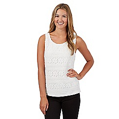 Red Herring - White floral crochet vest