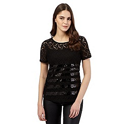 Red Herring - Black lace sequin striped top