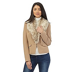 Red Herring - Natural faux fur collared jacket