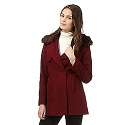 Red Herring - Dark red faux fur coat